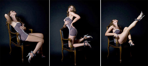 nude on a chair in three positions