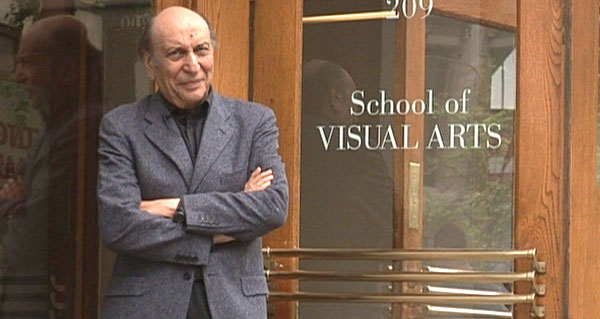 Milton Glaser posed at the Art